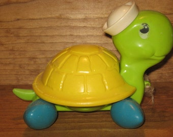 Fisher Price vintage Timmy Turtle pull toy