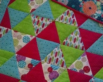 Baby quilt Hand Quilted blanket Baby girl quilt Pink blue and green quilt Floral baby quilt Baby blanket Baby girl blanket Homemade blanket