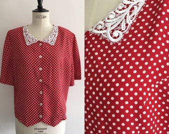 Red blouse with polka dots Vintage