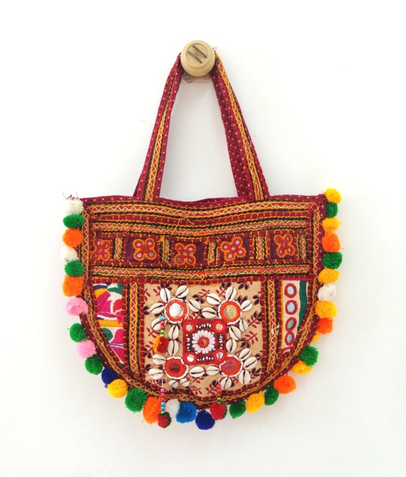 Gujarat kutch embroidered shoulder bag vintage by