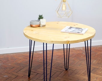 Angan Handmade Reclaimed Round Hairpin Leg Table finished in Yacht Varnish with Cobalt Blue powder coating. Made To Order