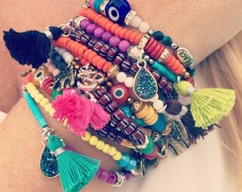 Coral, Jade, Magnesite, Swarovski Crystal Bracelet