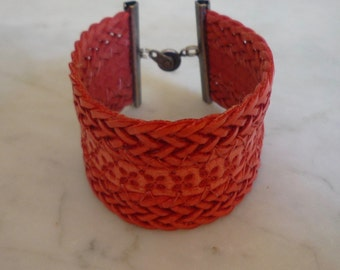 Coral Leather Cuff Bracelet