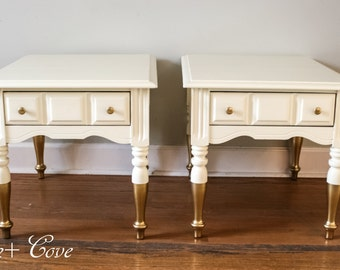 Sold-Antique White and Gold Dipped Pair of End Tables