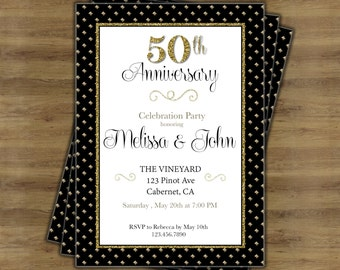 50th Anniversary Invitation; 50th Wedding Anniversary Invitations; 50th  Wedding Invitations; Gold Anniversary Party
