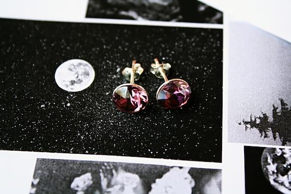 Swarovski stud earrings, Swarovski earrings, Lilac Shadow 12mm, Lilac Shadow earrings, Swarovski crystal earrings, Swarovski, 925 Silver