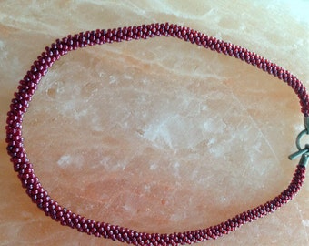 Berry beaded Kumihimo necklace