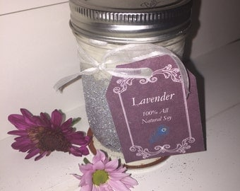8 oz Handmade All Natural Soy Candle Lavender
