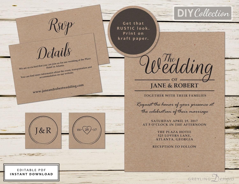 Wedding Invitations Kit: Rustic Wedding Invitation Kit Wedding Invitation Templates