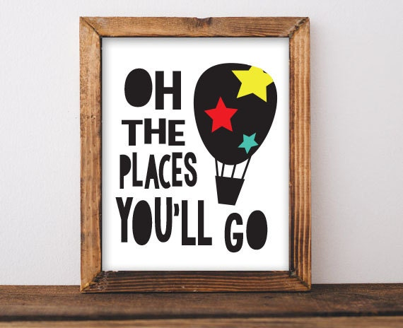 oh the places you 39 ll go dr seuss hot air balloon print. Black Bedroom Furniture Sets. Home Design Ideas