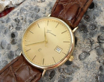 Men's gold watch, Vintage gold watch, gold wrist watch, gold watch Geneve, retro gold watch, Swiss gold watch, quartz gold watch