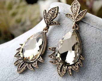 Grace Vintage Gold Earrings, Vintage wedding Earrings, Vintage Bridal Earrings, Vintage Bridesmaids Earrings