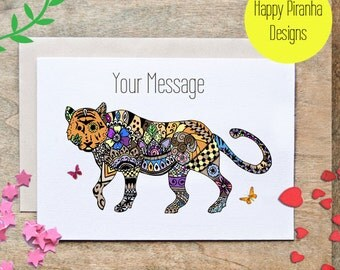 Tiger Card - Personalized Card - Birthday Card - Love Card - Friend Card - Travel - Thank you Card - Tiger - Thinking of you - Henna