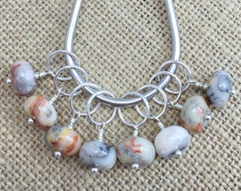 Stitch Markers, Agate Markers, Gifts for Knitter, Knitting Tools, Snag Free, Knit Markers, Crochet Removable Stitch Markers