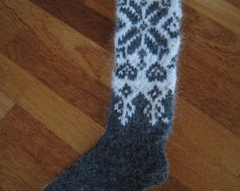 Handmade Icelandic wool socks, knitted in Iceland.
