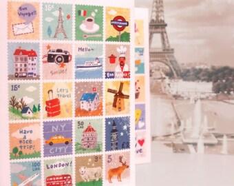 cute stamp sticker. city theme stamp sticker.