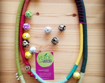 Cotton with buttons and beads necklace