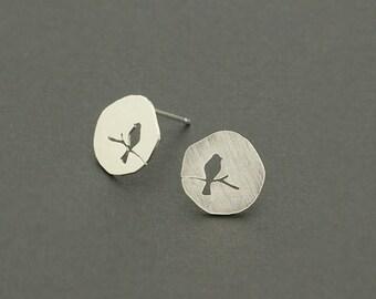 bird stud earrings, gold bird earrings, silver bird earrings, cut out, robin, minimalist earrings, geometric, simple, Tiny