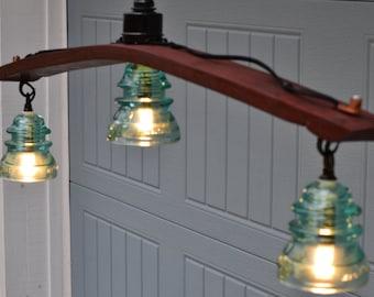 Railroad telephone insulator pendant light for Telephone insulator light fixture