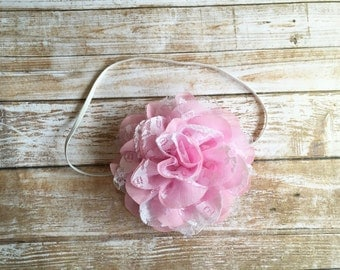Pink & White Baby Headband/Baby Headband/Infant Headband/Baby Girl Headband/Newborn Headband/Toddler Headband/Girls Headband/Easter Headband