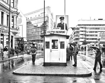 Berlin photography,Black and White,check point charlie,Germany,East Berlin, West Berlin ,Berlin Wall,Germany, , Wall Art, wall Decor