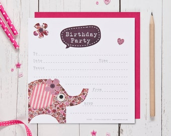 Elephant Birthday Party Invites