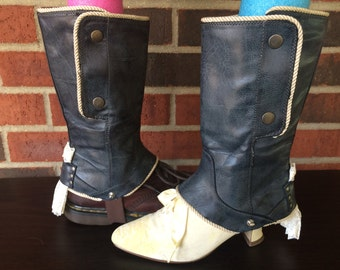 Upcycled repurposed recycled boots spats, shoe cover, cosplay wedding steampunk