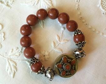 Rust Color Bead Bracelet