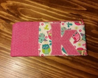 Girls Owl Letter Initial Zipper Pouch