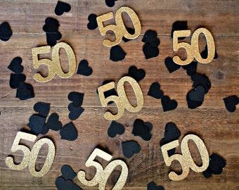 50th Birthday Confetti.  50th Anniversary Confetti. 50 Gold.  50 Silver.  50 Confetti. 50th Birthday Party Decorations. 50th Decor.