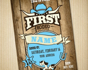Cowboy Birthday, Baby Invitation, First Rodeo, Personalized Baby Boy Party Invitation, 5x7