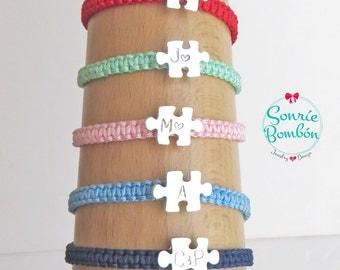 Puzzle macrame knot bracelet | adjustable bracelet puzzle | Initial engraving puzzlenbracelet | Stamping initial puzzle bracelet | love puzzle