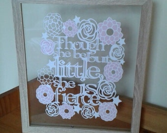Though She Be But Little - Shakespeare quote - Paper Cut Floating Frame