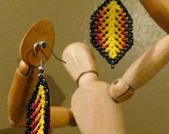 Beautiful and Unique Huichol Mexican Dangling Fiery Feather Earrings