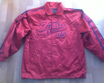 FUBU jacket, vintage Fubu windbreaker, 90s hip-hop clothing, 1990s hip hop nylon starter jacket, gangsta rap, red color Fubu jersey, size M