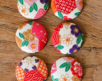 NEW 6 x Flat Back Japanese Patterns Fabric Covered Buttons Red Floral Crafts 40L 25mm VAT