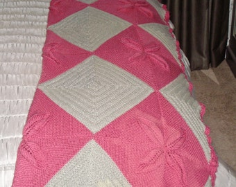 REDUCED hand knitted vintage blanket