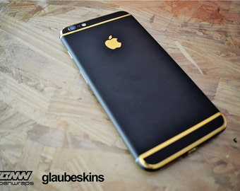iphone 6 skin matte black and gold