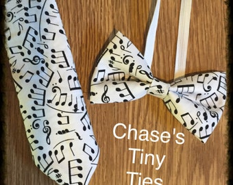 Music Notes Tie, Black and White Bowtie, Musical Bowtie, Musician Tie, Black and White Music Notes Necktie and Bowtie for Boys