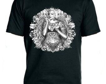 Tattooed Marylin Monroe Tee-Shirt, Cool Tee Shirts, Custom Tee Shirts, Tattooed T-Shirts, Unisex Shirts, T-Shirt