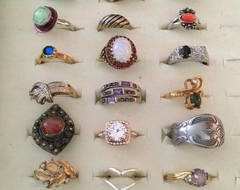 Lot of 24 Pre-owned Rings ~ Vintage to Newer