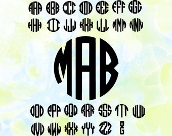 Circle Monogram Font svg, dxf, studio v3, png, cdr, file for Silhouette Cameo, Curio, cut file for cutting machines, instant download