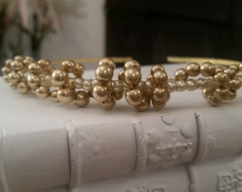 Pure White Pearl And Gold Beaded Headband, Gold plated. Weddings, Brides, Bridesmaids, Parties