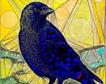 Colourful print with crow, lines and dots. Bird,distressed,fine art paper.