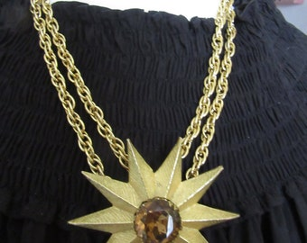 Vintage Necklace with Metal Flower Focal