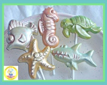 Chocolate Sea Creatures Lollipop Set of 5/Under the Sea Party/Sea or Ocean Theme/Kids Favours/Marine Life/Seaside/Kids Birthday/Children
