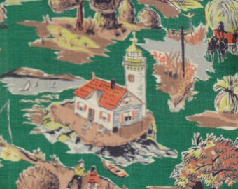 Vintage Novelty Fabric Cotton Bark Cloth Scenic Material Cape Cod Nantucket