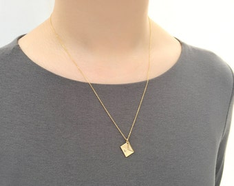 Personalized  Matte Finish Gold Envelope Necklace / Handmade, Hand Stamped / Dainty Necklace / Birthday, Bridesmaid, Love Gift