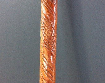 """Vintage primitive folk art walking stick shepherd cane crock wood carved 35"""" long"""