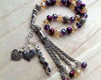 Personalized Tasbihs 4u, Islamic Gifts - Custom made - GOLDS & PURPLES 33 beads - Eid Ramadan